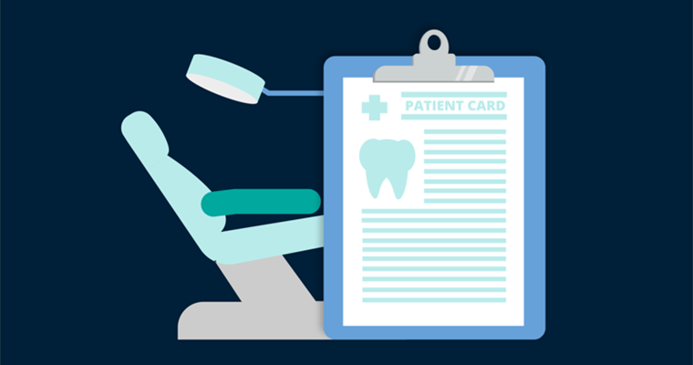 Illustration of dentist chair, light and patient info card