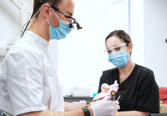 Two dentists with tools
